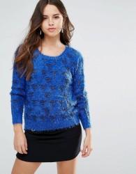 Louche Arif Fluffy Knit Jumper - Blue