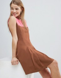 Louche Drop Hem Dress With Pleated Skirt And Contrast Neck - Brown