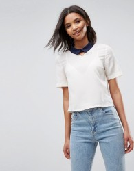 Louche Finelle Top With Contrast Collar - Cream