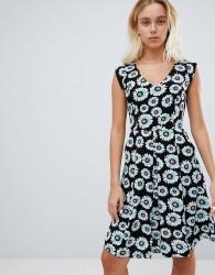 Louche Floral Print Skater Dress - Black