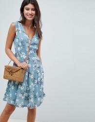 Louche Floral Print Skater Dress - Blue