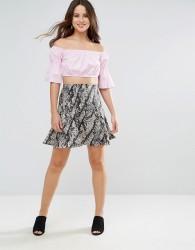 Louche Krissy Snake Print Skirt - Grey