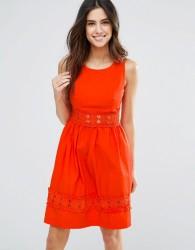 Louche Larkspur Dress With Crochet Trim - Red