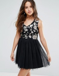 Louche Maykaylee Dress With Tulle Skirt - Black