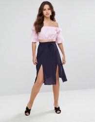 Louche Tamiko Midi Skirt - Navy