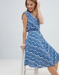 Louche Zig Zag Print Belted Skater Dress - Blue