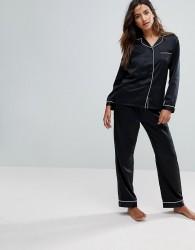 Loungeable Black Satin Long Sleeve Pyjama Set - Black