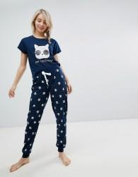 Loungeable Don't Stress Meowt Long Pyjama Set - Navy