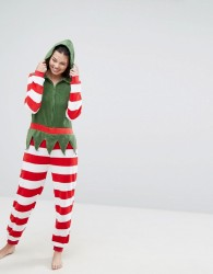 Loungeable Fluffy Christmas Elf Onesie - Multi