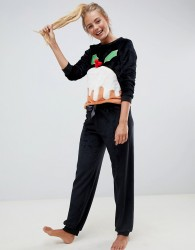 Loungeable Fluffy Fleece Christmas Pudding Twosie - Black