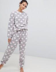 Loungeable Fluffy Fleece Heart Print Twosie - Grey