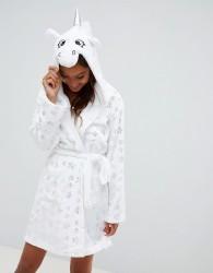 Loungeable Fluffy Fleece Unicorn Metallic Star Dressing Gown - White