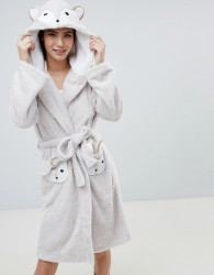 Loungeable Fuzzy Sherpa Fleece Squirrel Dressing Gown - Brown