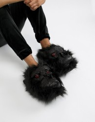 Loungeable gorilla slippers in faux leather - Black