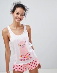 Loungeable Jama Llama Short Spots Pyjama Set - Pink