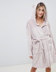 Loungeable luxe fleece hooded dressing gown in metallic star print - Brown