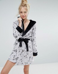 Loungeable Luxury Fleece Cocktail Print Robe - Silver