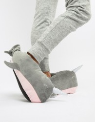 Loungeable Narwhal Whale Slipper - Grey