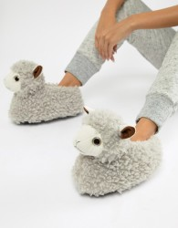 Loungeable novelty llama slippers - White