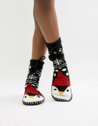 Loungeable Penguin Slipper Sock With Pom Pom Ties - Black