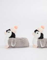 Loungeable Penguin With Bobble Hat Slipper - Grey