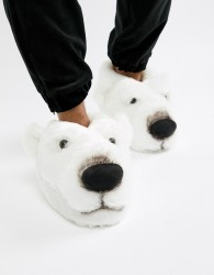 Loungeable polar bear slippers - White