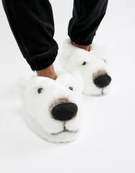 Loungeable polar bear slippers - White