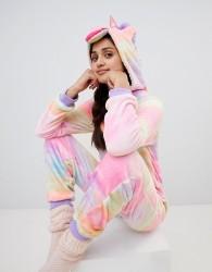 Loungeable unicorn onesie in rainbow print - Black
