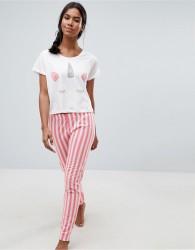 Loungeable Unicorn Tee Stripe Pyjama Set - Pink