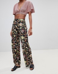 Love Floral Wide Leg Trouser - Navy