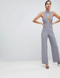 Love Halter Neck Jumpsuit - Grey