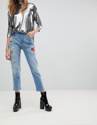 Love Moschino Birds And The Bees Boyfriend Jeans - Blue