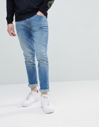 Love Moschino Skinny Jeans In Midwash Blue With Gold Badge - Blue