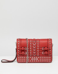 Love Moschino Stud Detail Clutch with Chain Strap - Red
