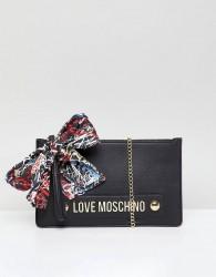 Love Moschino Stud Logo Clutch with Chain Strap - Black