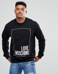 Love Moschino Sweatshirt In Black With Large Embroidered Box Logo - Black