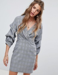 Love & Other Things V Neck Ruched Sleeve Dress - Grey