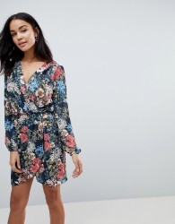Love Printed Long Sleeve Wrap Dress - Multi