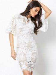 Love Triangle All Over Lace Open Back Mini Dress Kropsnære kjoler Hvid