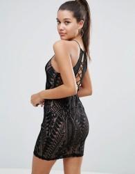 Love Triangle All over Lace Strappy Back Mini Bodycon Dress - Black