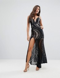 Love Triangle Allover Lace Maxi Dress With Deep Thigh Split - Black