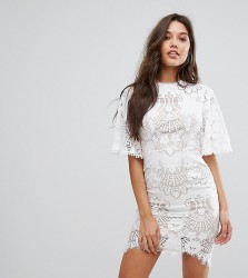 Love Triangle Allover Lace Open Back Mini Dress With Fluted Sleeve Detail - White