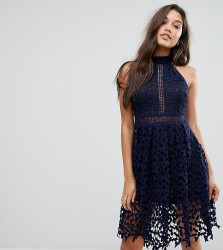 Love Triangle Allover Lace Prom Dress - Navy