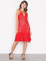 Love Triangle Atomic Frill Hem Dress Kropsnære kjoler Red