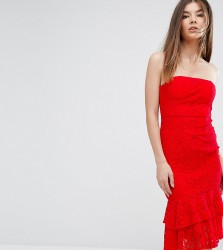 Love Triangle Bandeau Midi Dress with Double Frill - Red