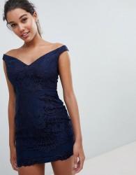 Love Triangle Bardot Sweetheart Mini Lace Dress - Navy