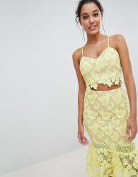 Love Triangle Cami Strap Cutwork Lace Crop Top - Yellow