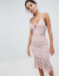 Love Triangle Cami Strap Lace Dress With Fluted Hem - Brown