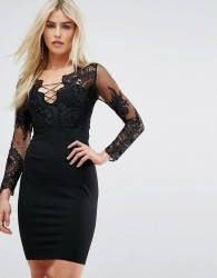 Love Triangle Embroidered Mesh Top Mini Dress With Lace Up Back - Black