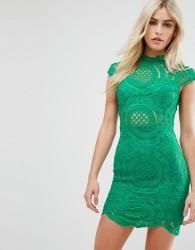 Love Triangle High Neck All Over Crochet Lace Mini Dress - Green